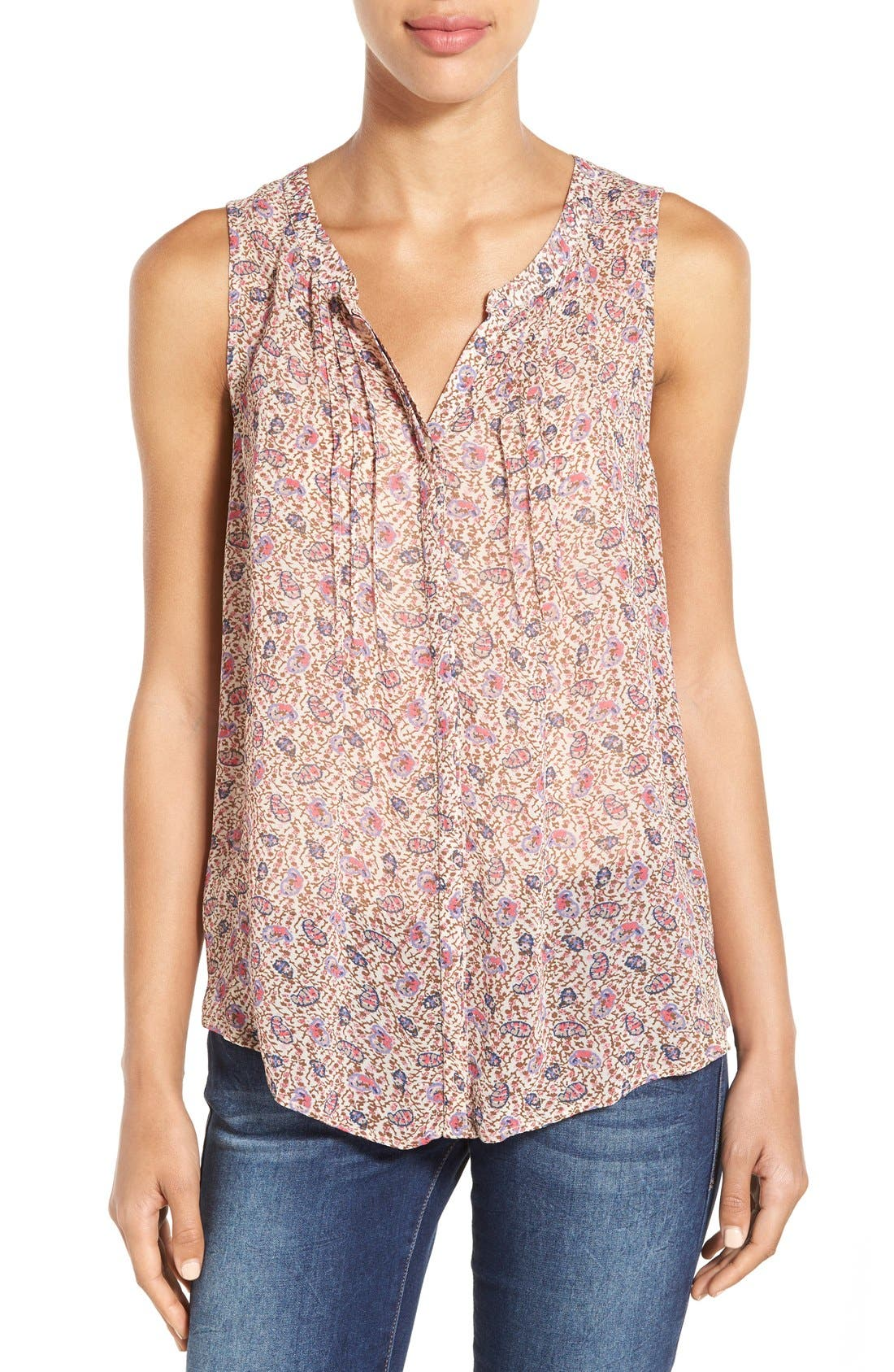 Alternate Image 1 Selected - Lucky Brand Ditsy Paisley Sleeveless Blouse