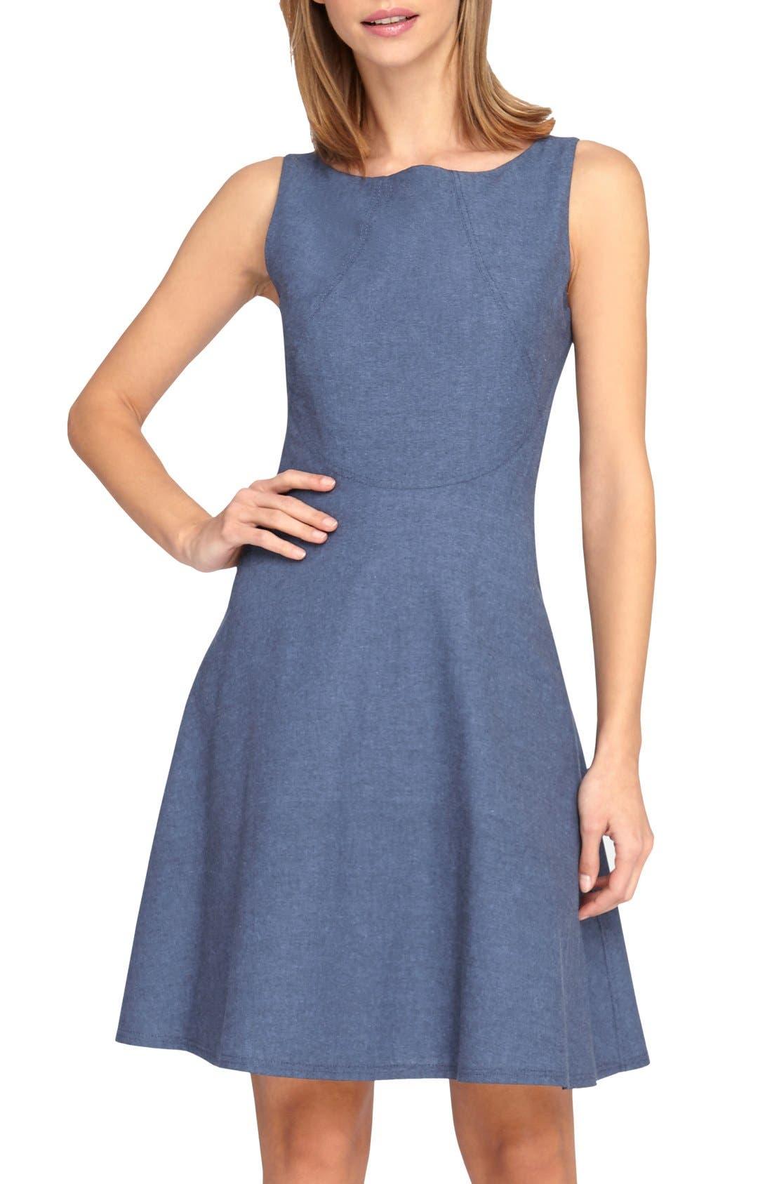 Alternate Image 1 Selected - Tahari Chambray Fit & Flare Dress