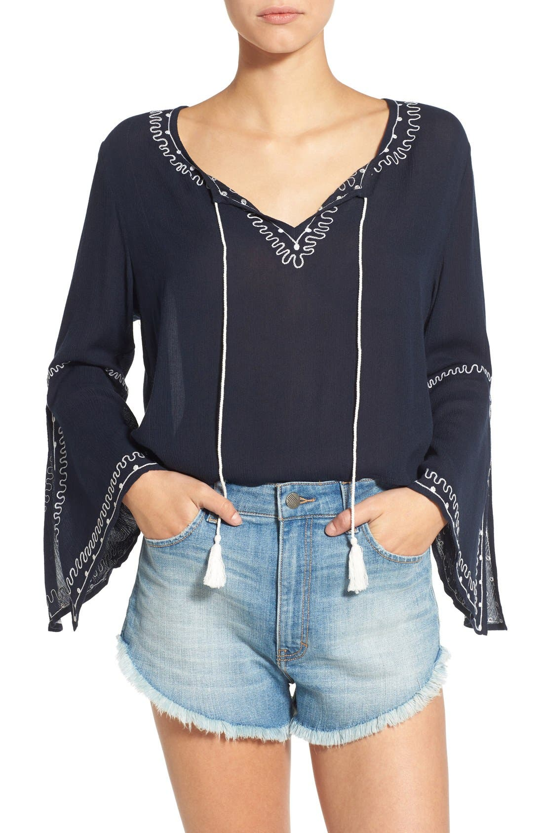 Main Image - Band of Gypsies Embroidered Bell Sleeve Blouse