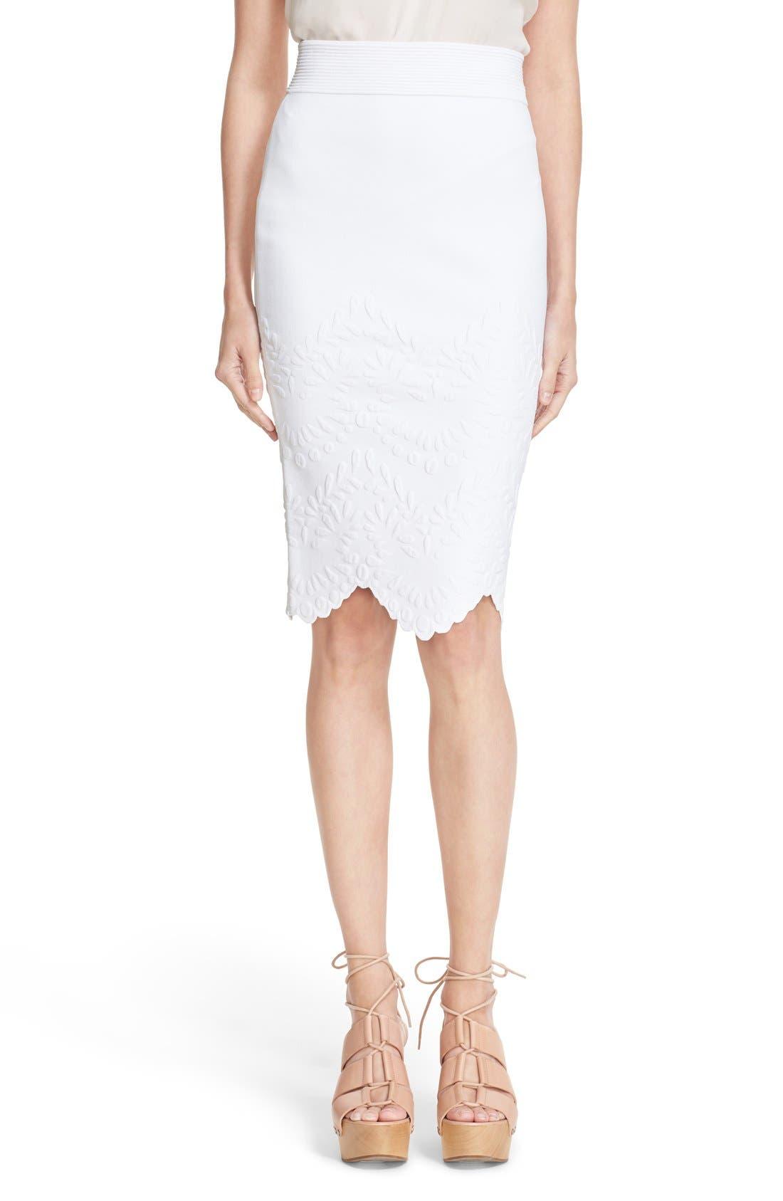 Main Image - Alexander McQueen Embossed Jacquard Knit Pencil Skirt