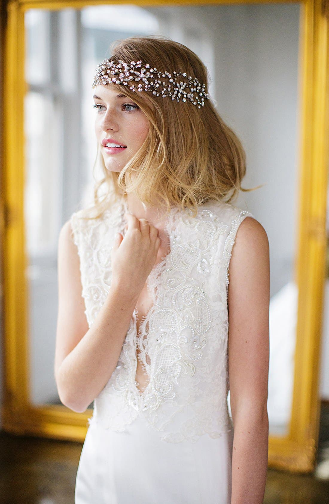 Main Image - Brides & Hairpins 'Thalia' Pearl & Jeweled Head Band