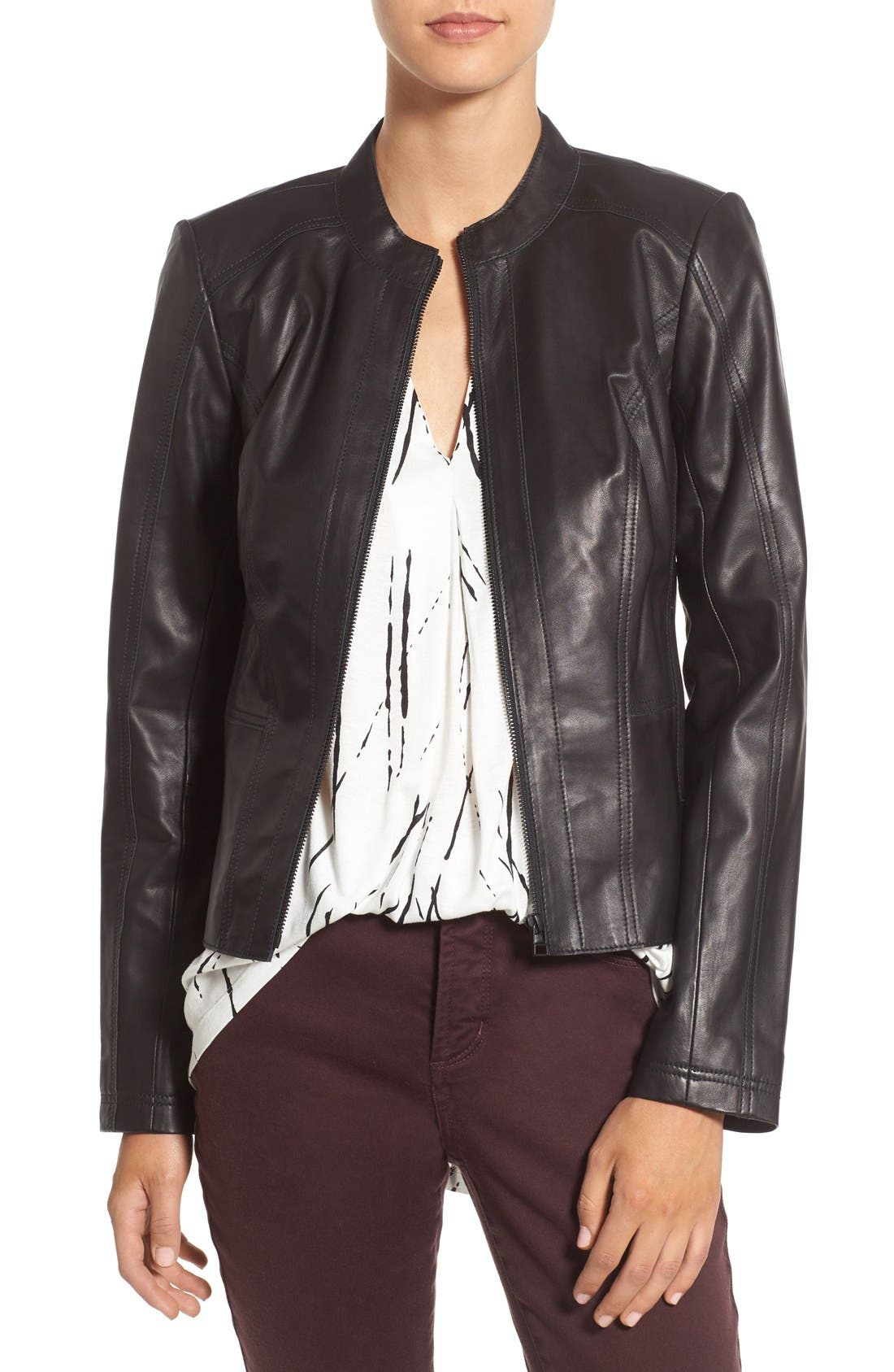 HALOGEN® Raw Edge Pieced Leather Jacket