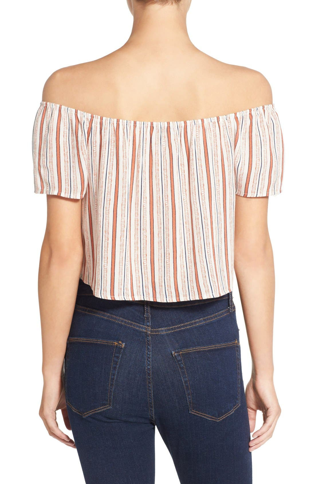 Alternate Image 2  - Ten Sixty Sherman Stripe Off the Shoulder Crop Top