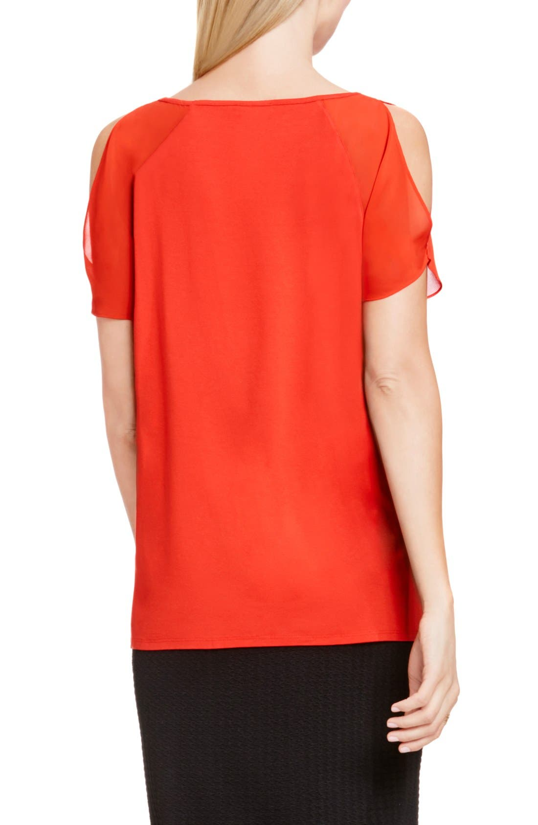 Alternate Image 4  - Vince Camuto Chiffon Cold Shoulder V-Neck Blouse