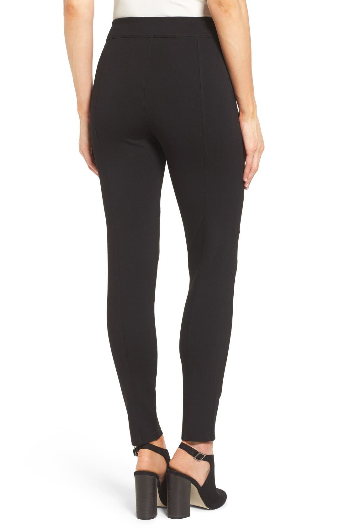 Alternate Image 2  - Two by Vince Camuto Ponte Knit Moto Leggings