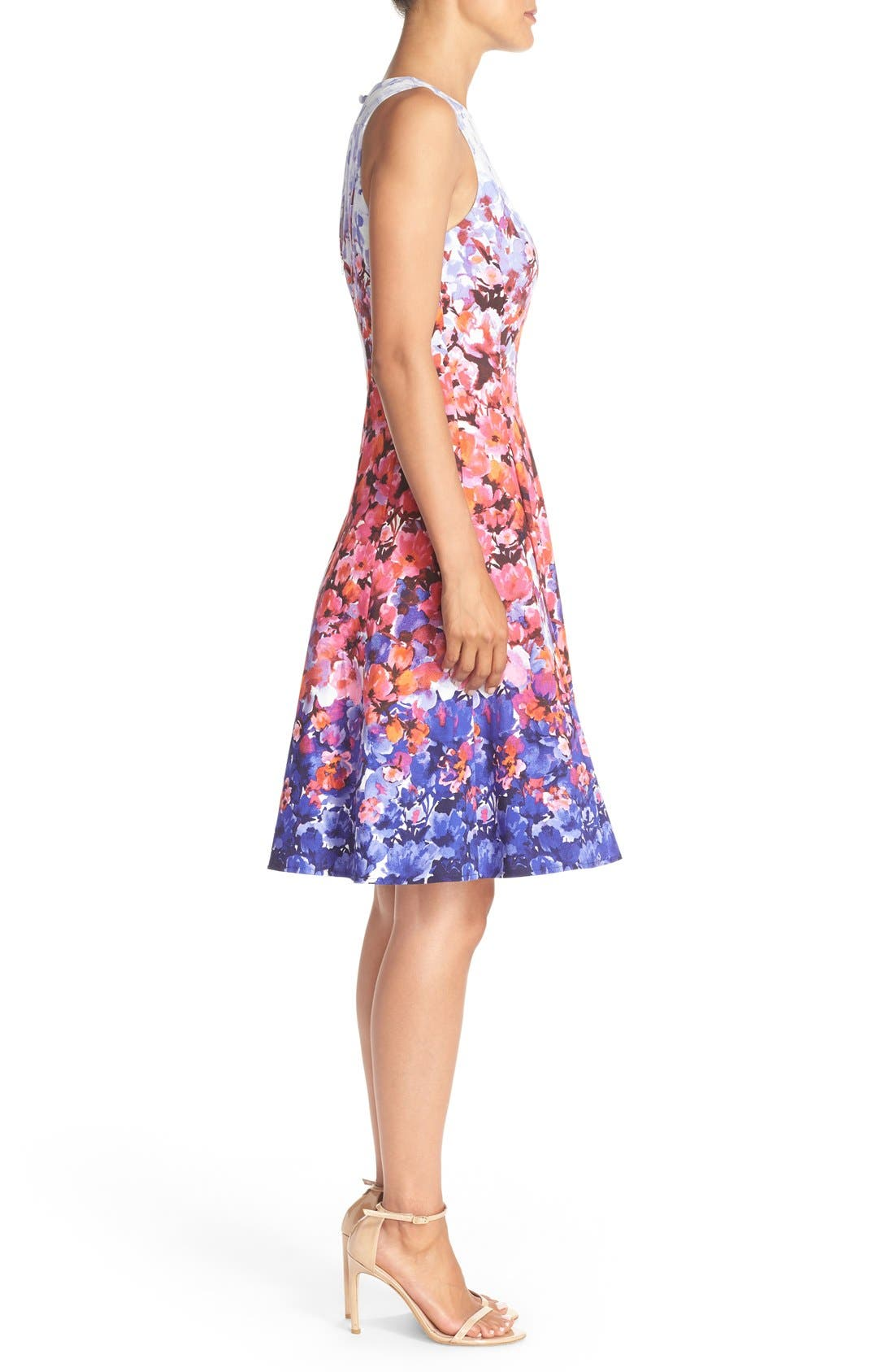 Alternate Image 3  - Maggy London Floral Print Sateen Fit & Flare Dress (Regular & Petite)