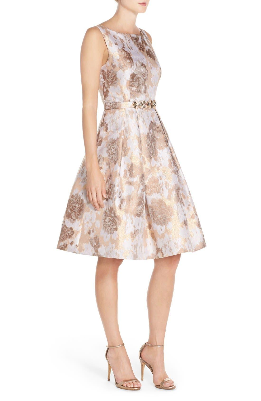 Alternate Image 3  - Eliza J Belted Jacquard Fit & Flare Dress