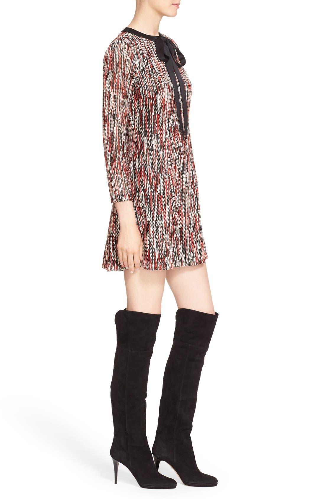 Alternate Image 3  - Alice + Olivia 'Gwyneth' Print Tie Neck Fit & Flare Dress