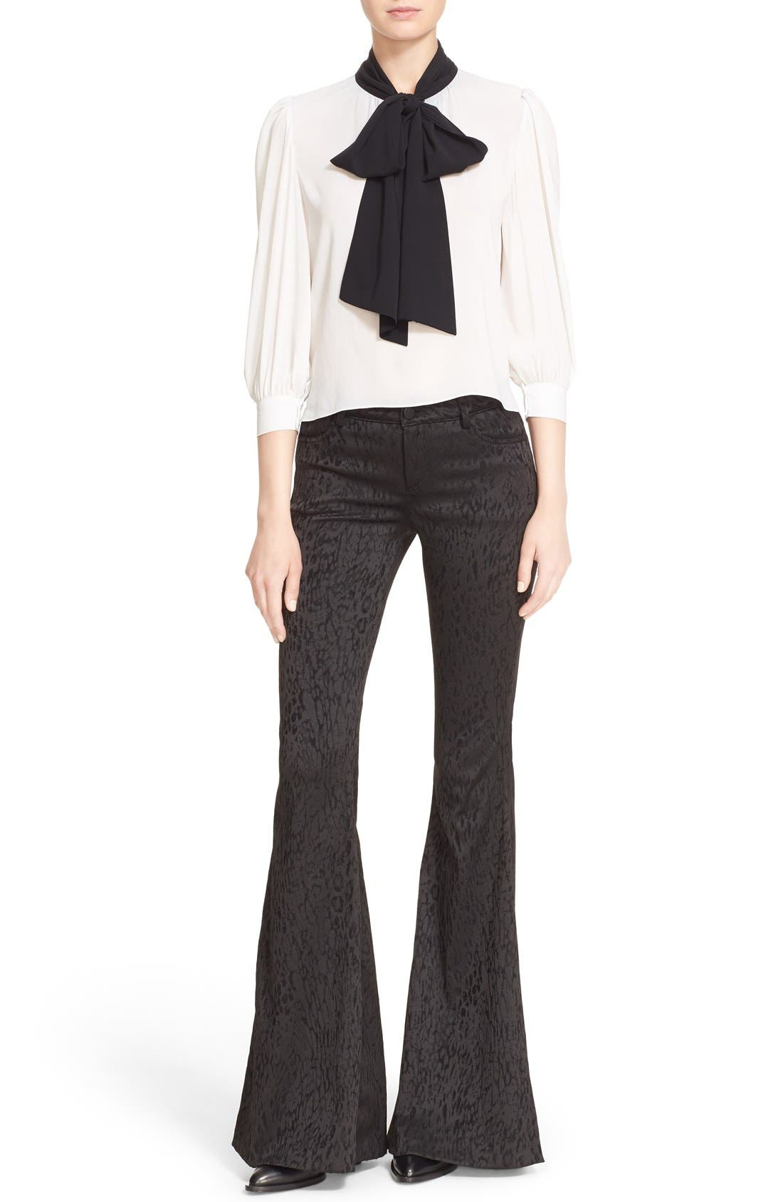 Alternate Image 2  - Alice + Olivia 'Treena' Contrast Bow Stretch Silk Blouse
