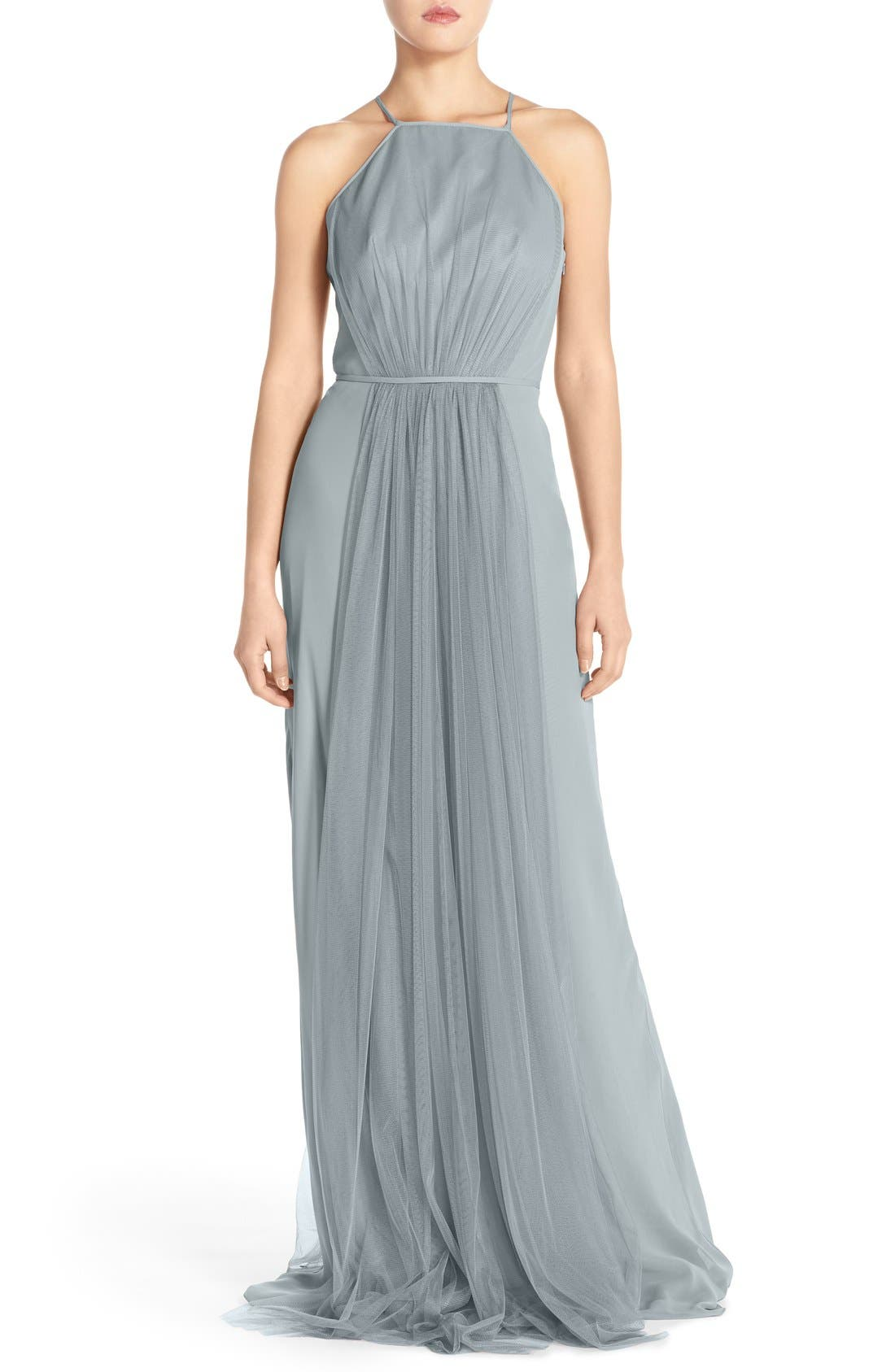 Monique Lhuillier Bridesmaids Chiffon & Tulle Halter Gown