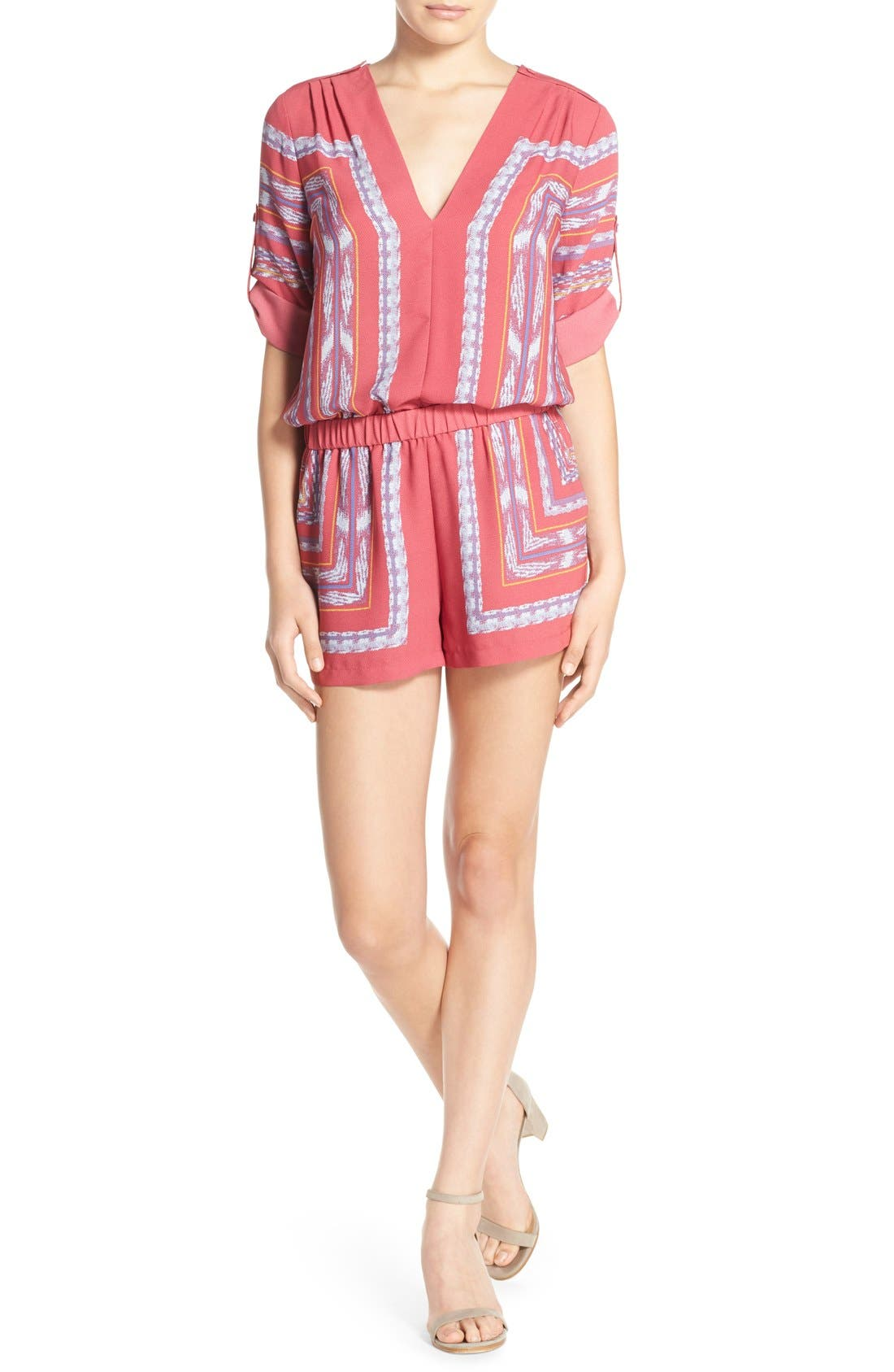 Alternate Image 1 Selected - BCBGMAXAZRIA 'Soren' Print Georgette Romper