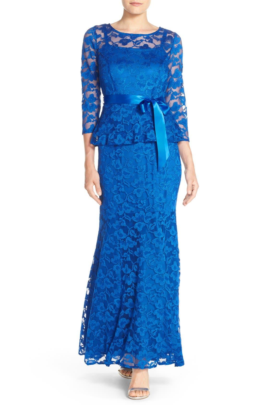 Main Image - Chetta B Peplum Lace Mermaid Gown