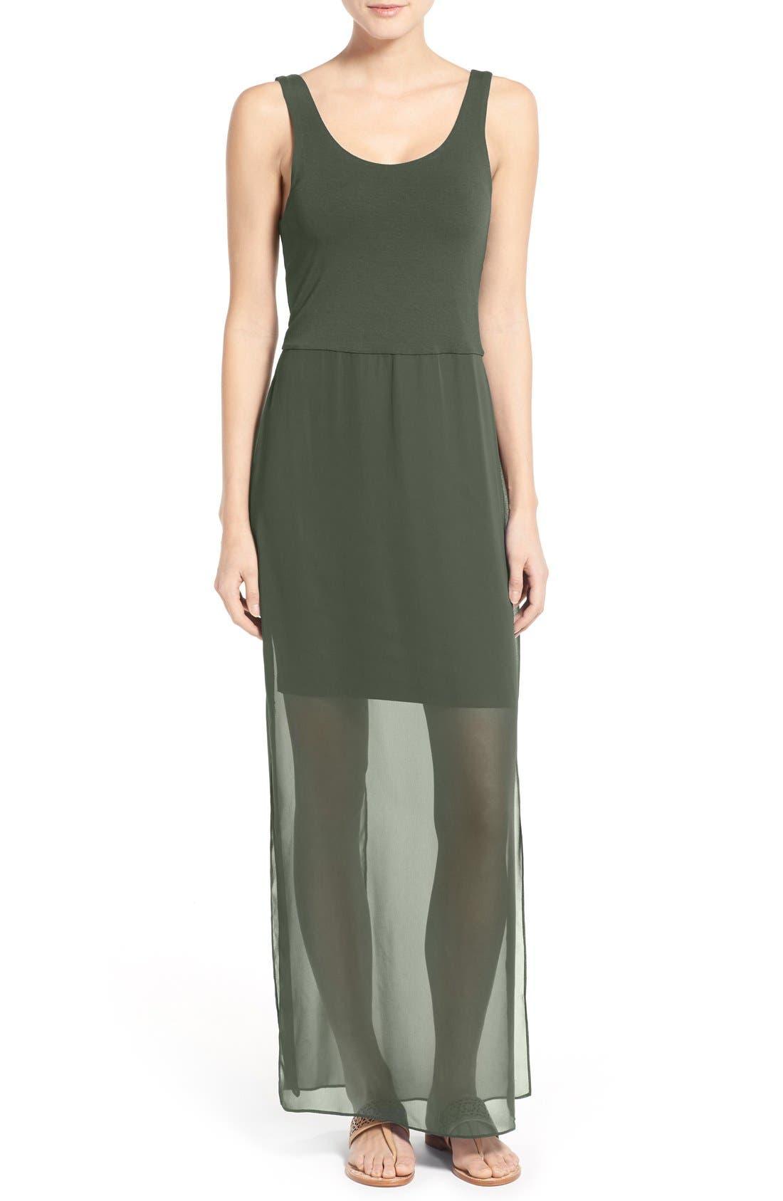Vince Camuto Chiffon Overlay Tank Dress (Petite)