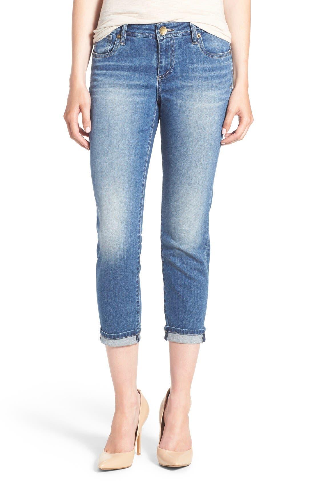 KUT from the Kloth 'Catherine' Slim Crop Boyfriend Jeans (Dark Stone)