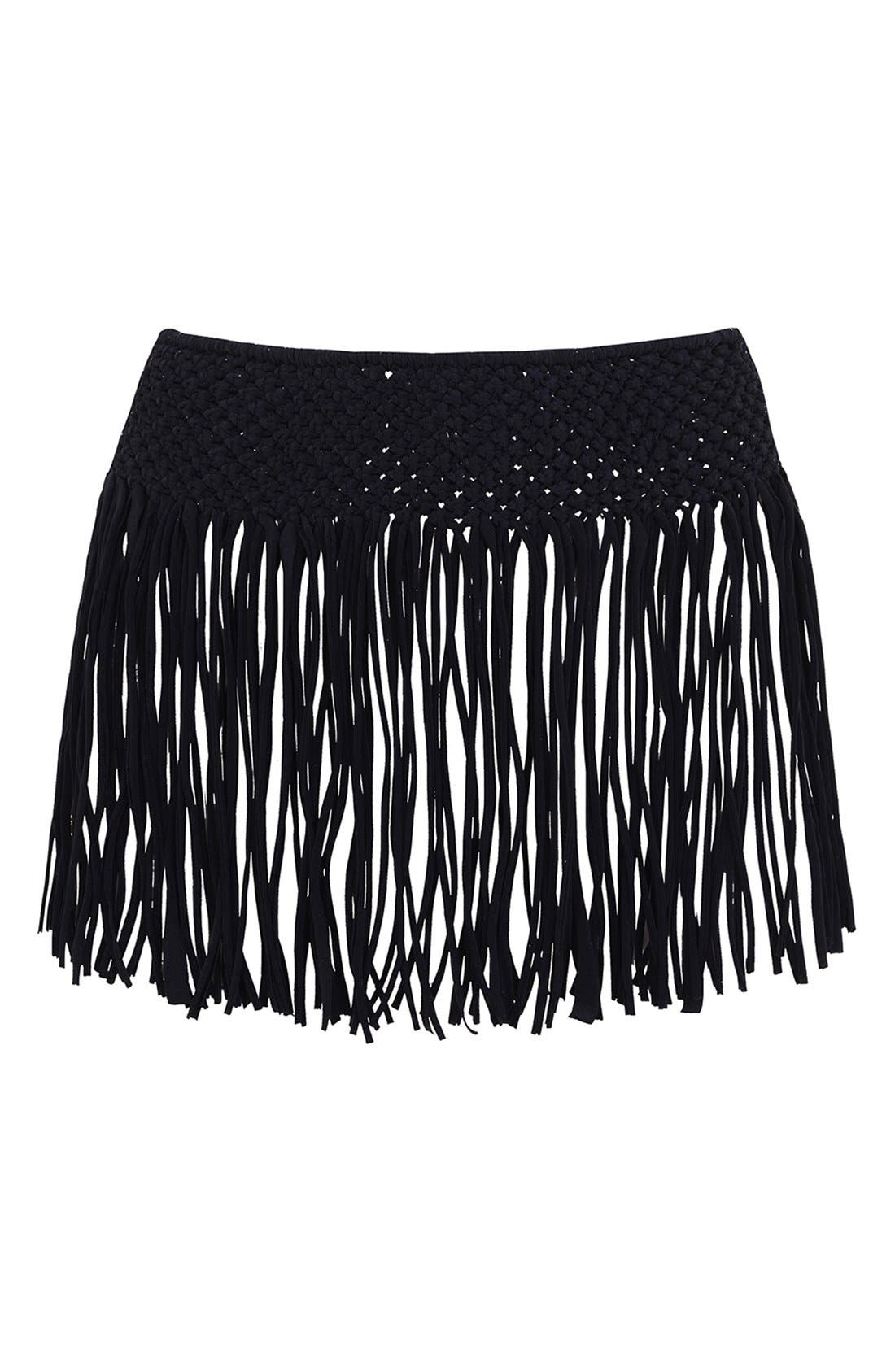 Main Image - KENDALL + KYLIE at Topshop Macramé Fringe Cover-Up Skirt