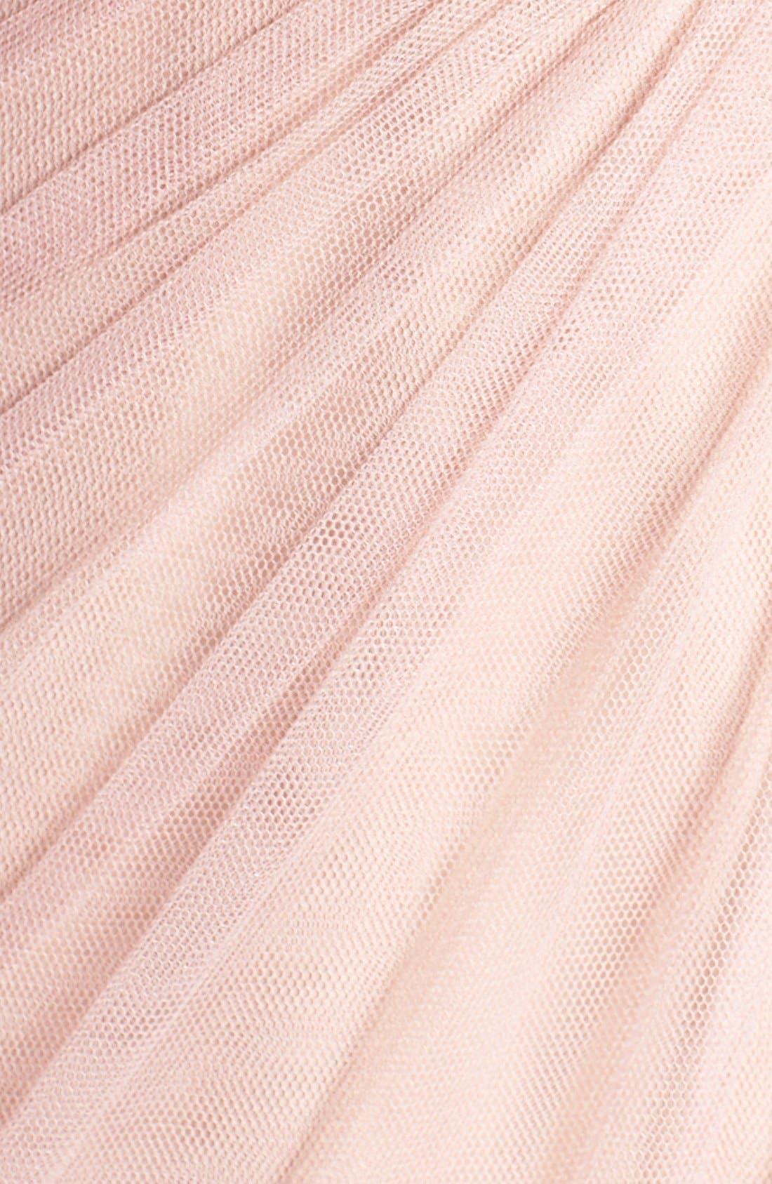 Alternate Image 5  - Monique Lhuillier Bridesmaids Sheer Capelet V-Neck Tulle A-Line Gown