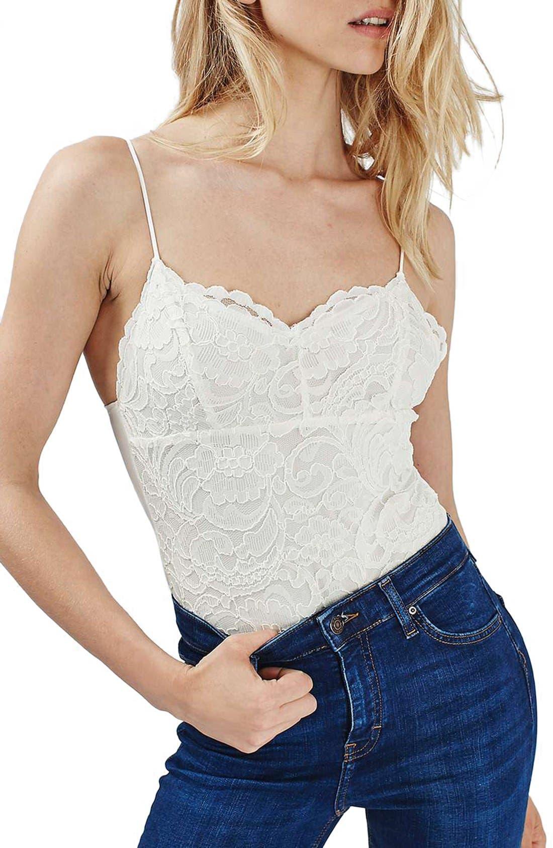 Main Image - Topshop Scalloped Lace Bodysuit (Regular & Petite)