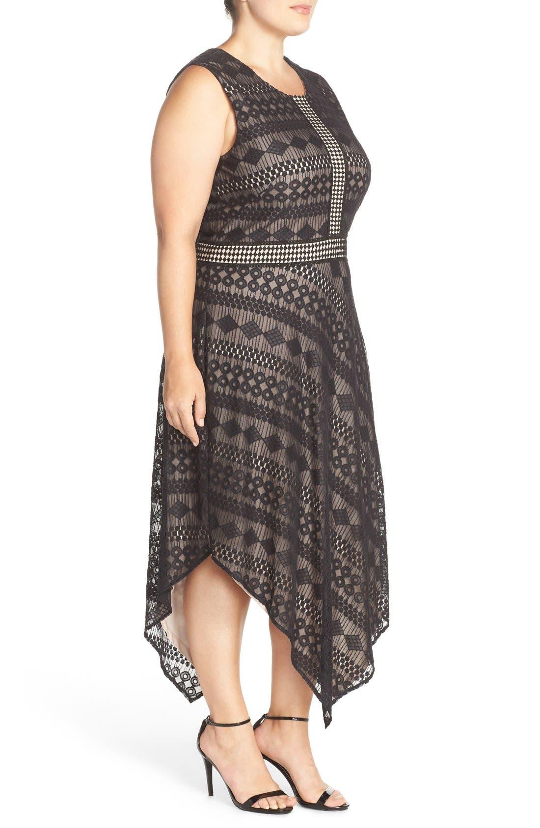 Alternate Image 3  - London Times Geo Stripe Lace Asymmetrical Hem Dress (Plus Size)