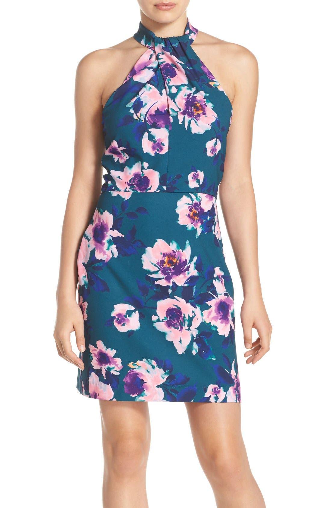 Alternate Image 1 Selected - Charles Henry Floral Print Halter Dress