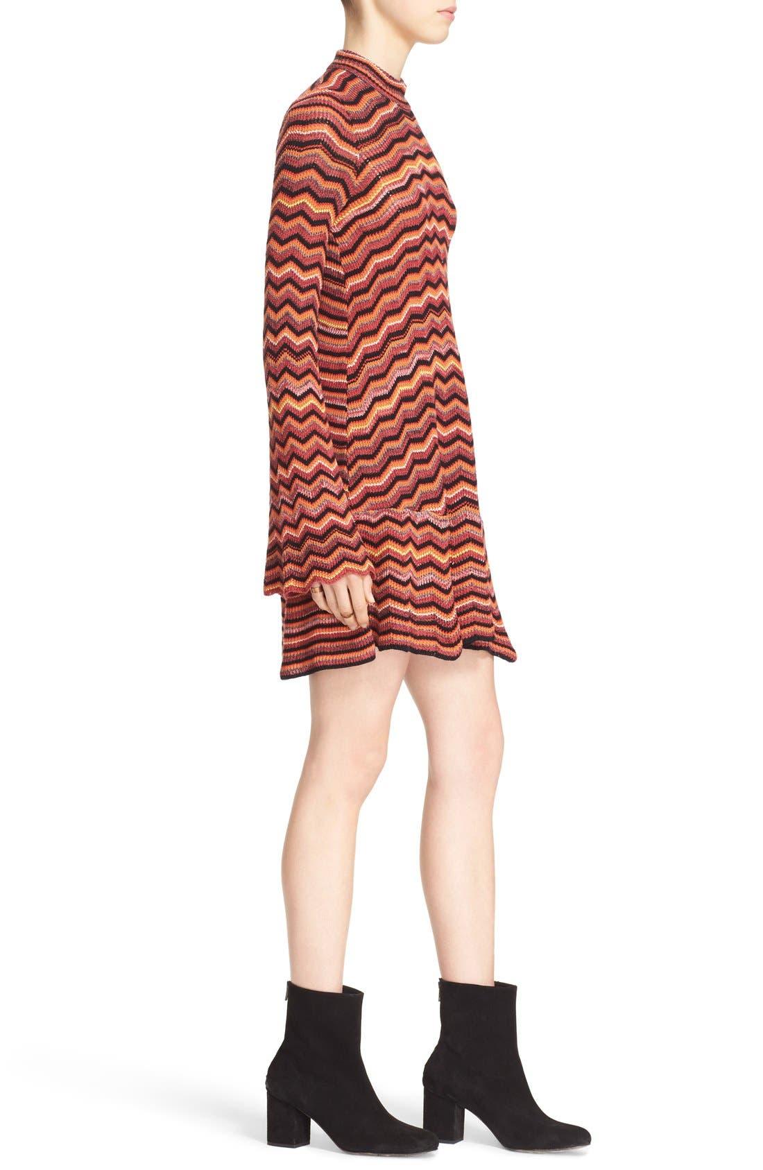 Alternate Image 3  - Free People Ziggy Bell Sleeve Stripe Sweater Dress