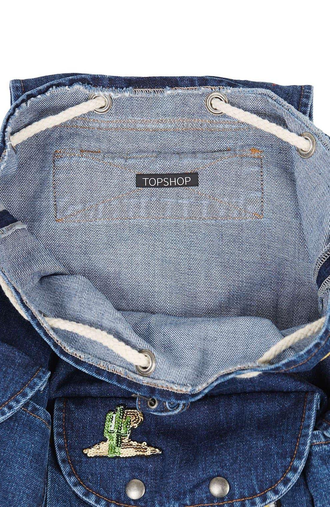 Alternate Image 5  - Topshop Badge Denim Backpack