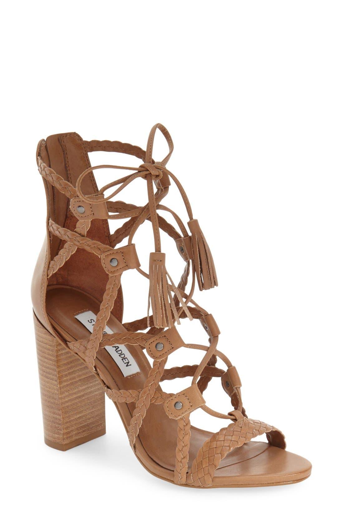 Alternate Image 1 Selected - Steve Madden 'Tarrra' Ghillie Block Heel Sandal (Women)
