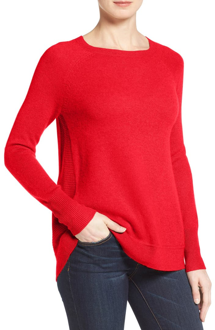 Halogen 174 Zip Back Crewneck Cashmere Sweater Regular
