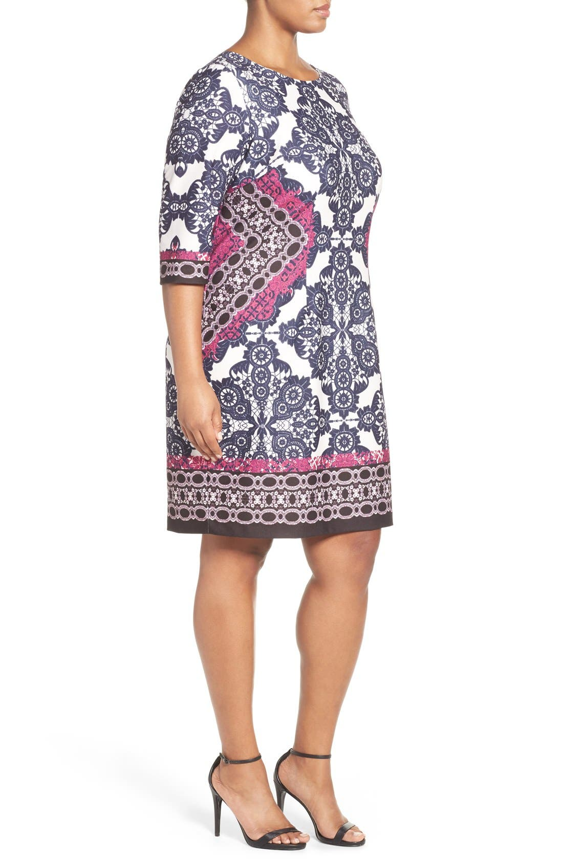 Alternate Image 4  - Eliza J Geo Print Ponte Sheath Dress (Plus Size)