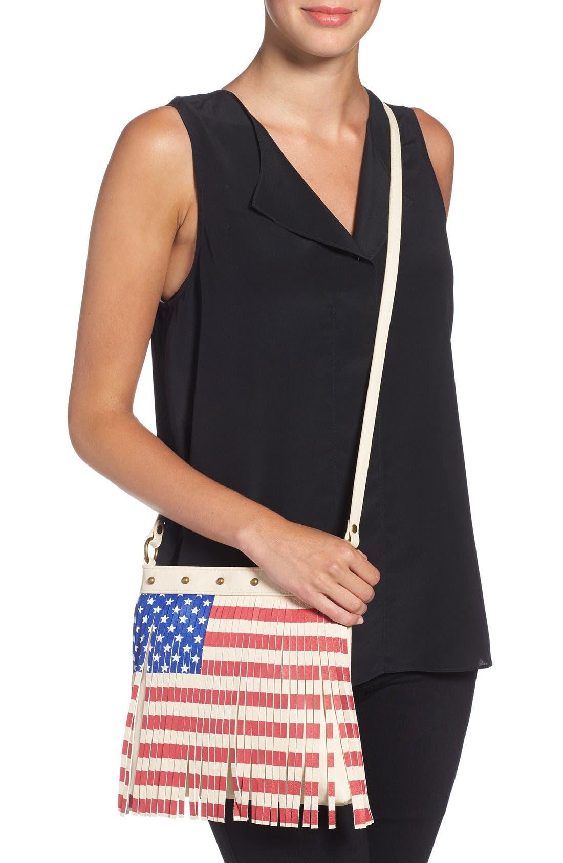 Alternate Image 3  - Lulu Faux Leather Flag Crossbody Bag