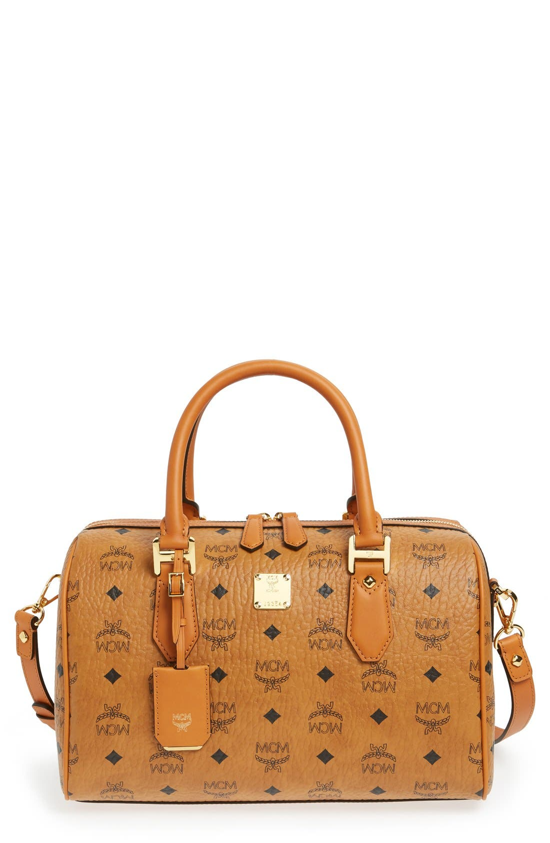 MCM 'Medium Heritage Boston' Coated Canvas Satchel