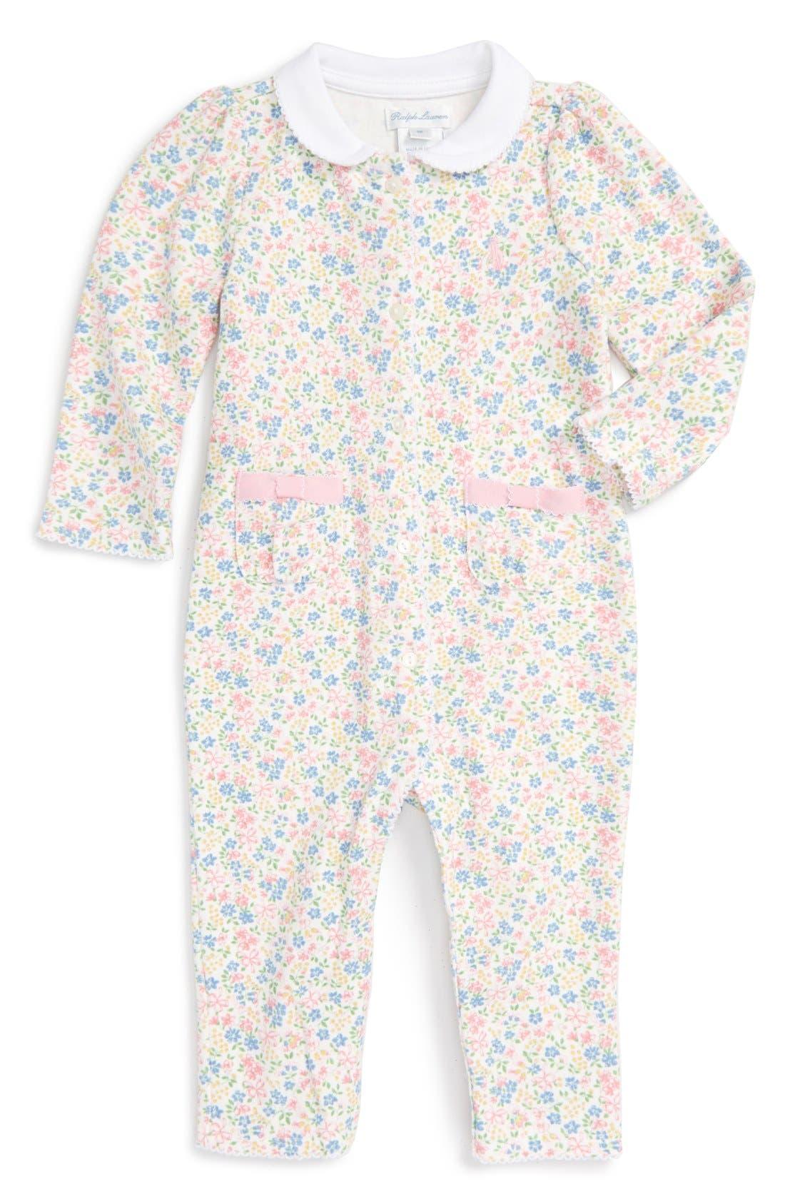 Ralph Lauren Floral Print Romper (Baby Girls)