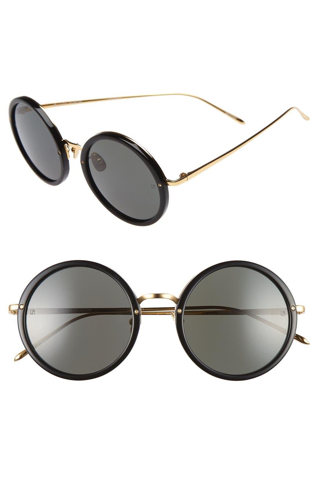 Linda Farrow 51mm Round 24 Karat Gold Trim Sunglasses