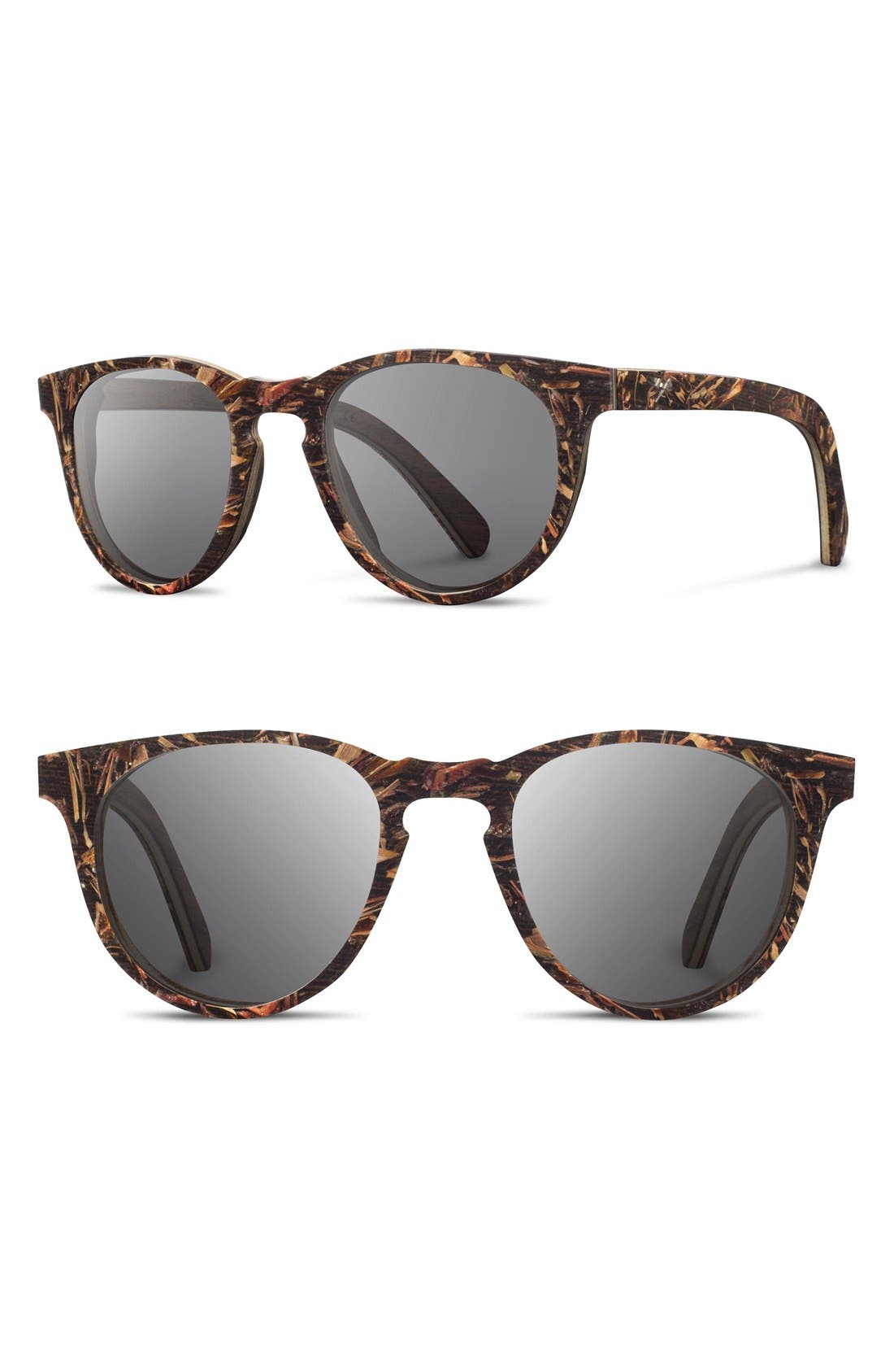 SHWOOD 'Belmont Flower' 51mm Polarized Wood Sunglasses