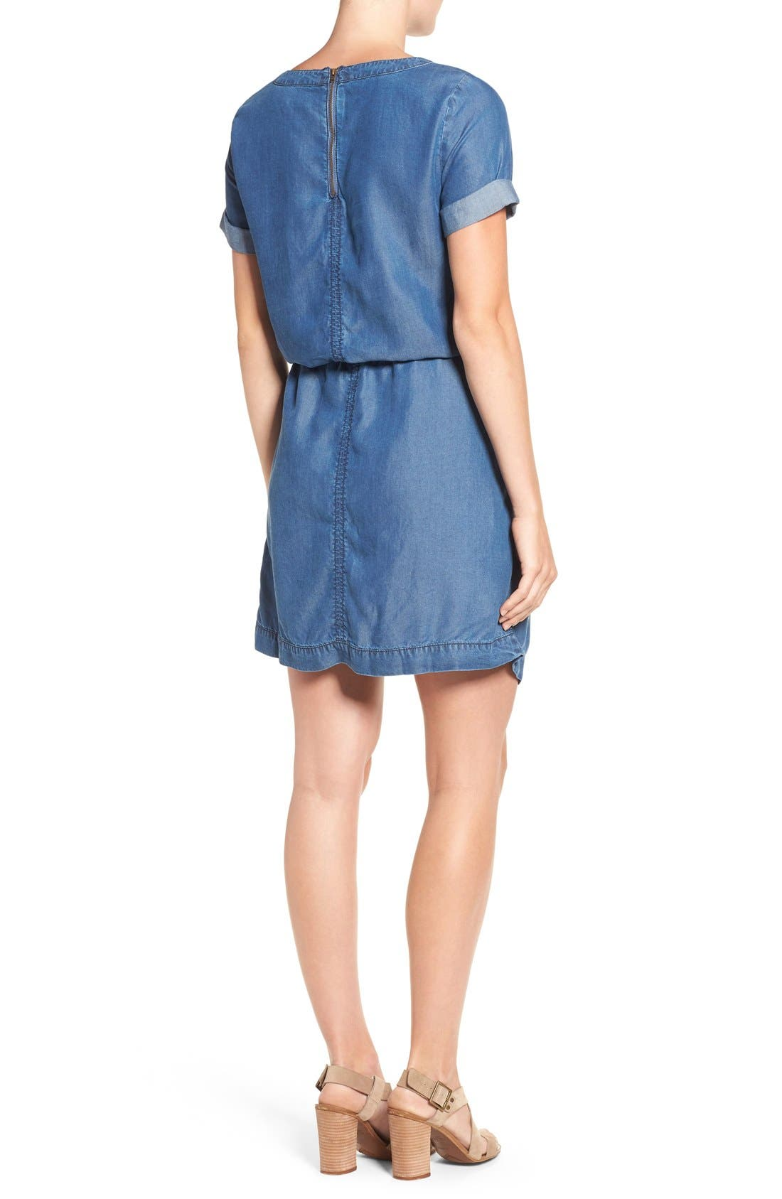 Alternate Image 2  - Caslon® Chambray Drawstring Waist Dress
