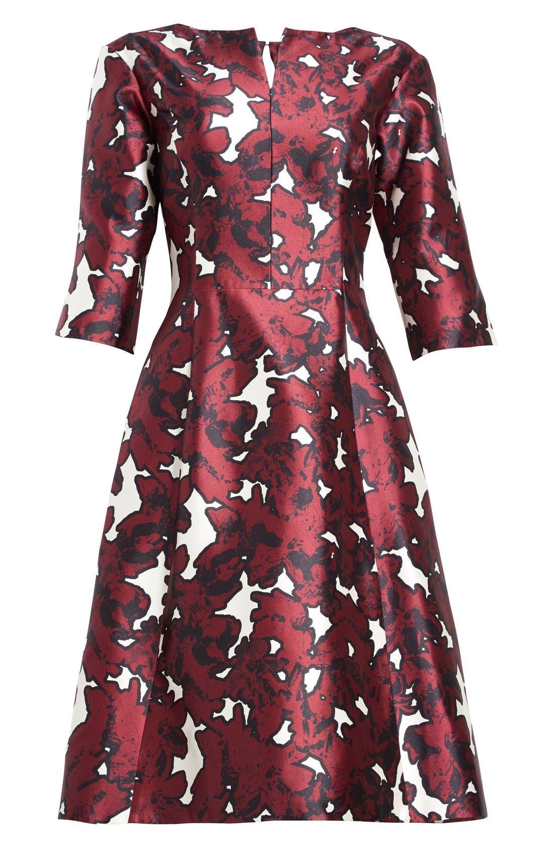 Alternate Image 4  - Oscar de la Renta 'Pressed Flowers' Print Silk Mikado Dress