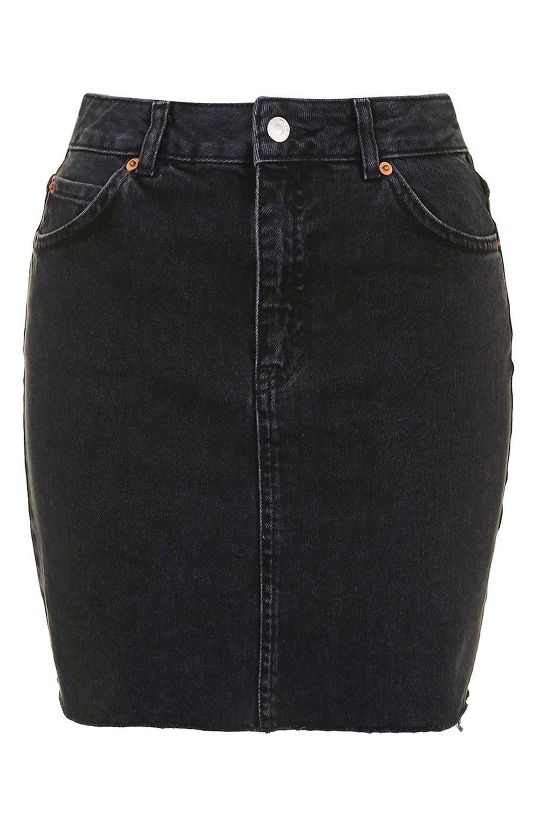 Alternate Image 4  - Topshop Moto High Rise Raw Hem Denim Skirt