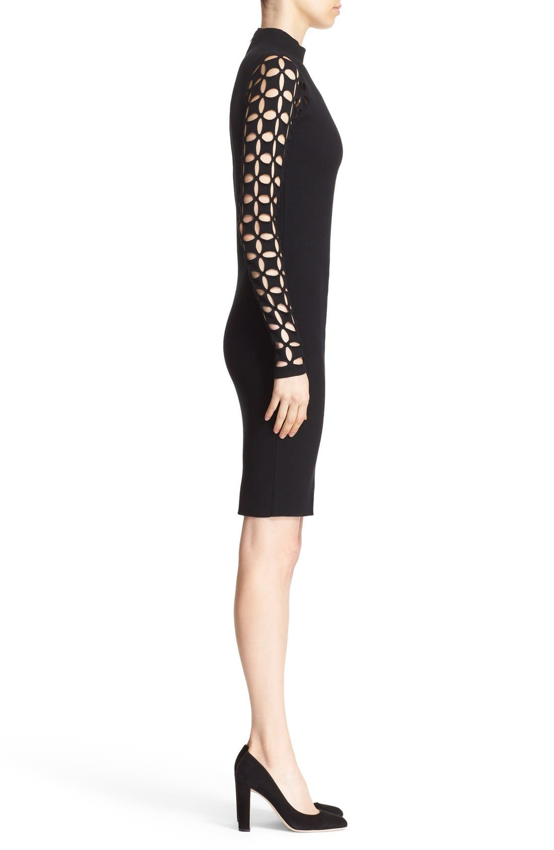 Alternate Image 3  - Milly Lattice Sleeve Fitted Knit Dress