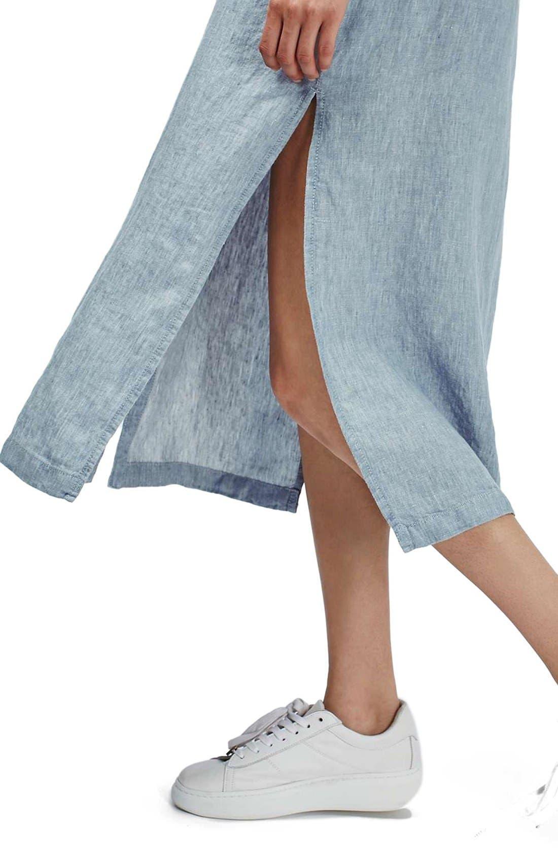 Alternate Image 5  - Topshop Button Front Linen Maxi Dress