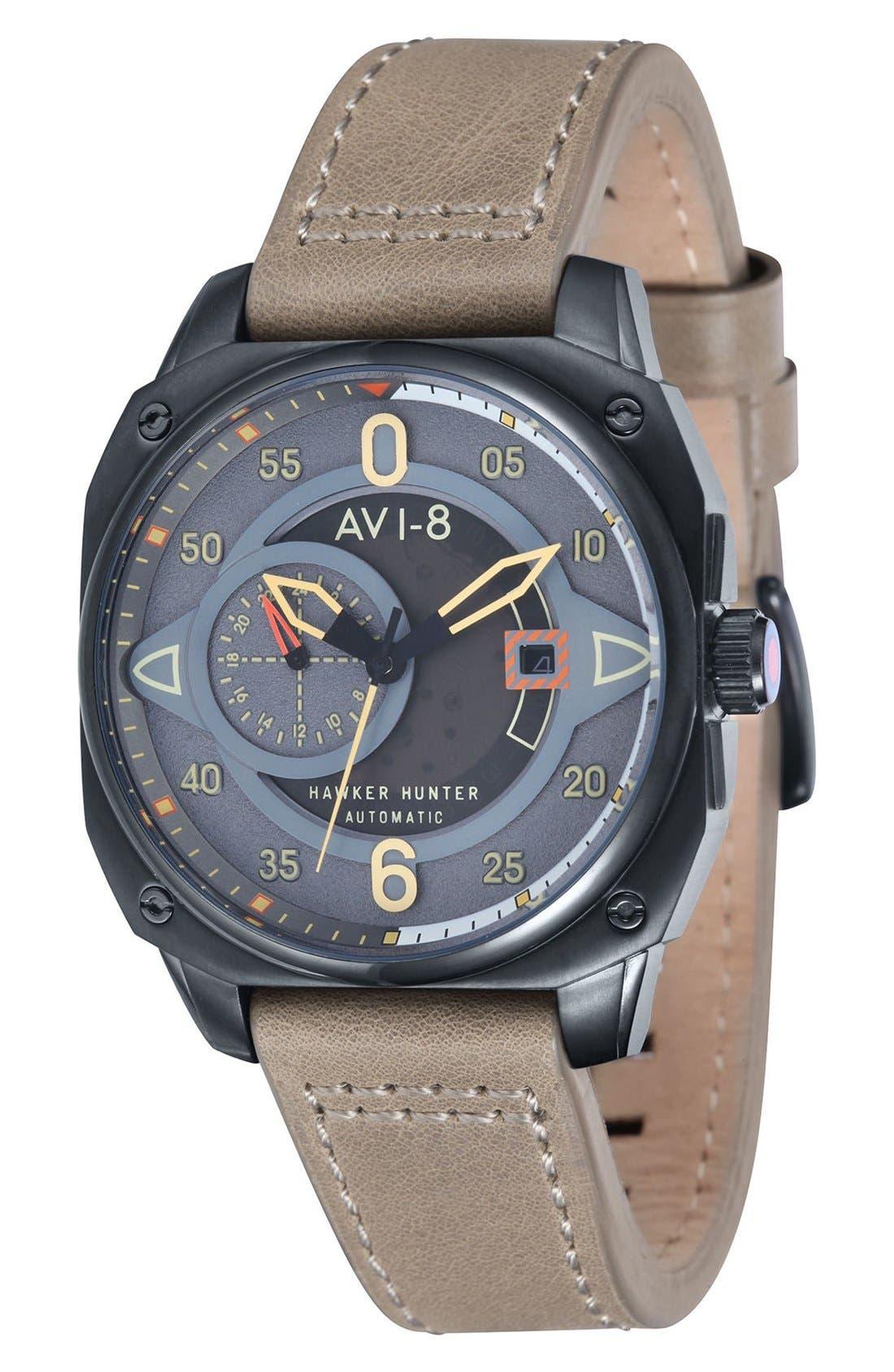 AVI-8 'Hawker Hunter' Automatic Leather Strap Watch, 44mm