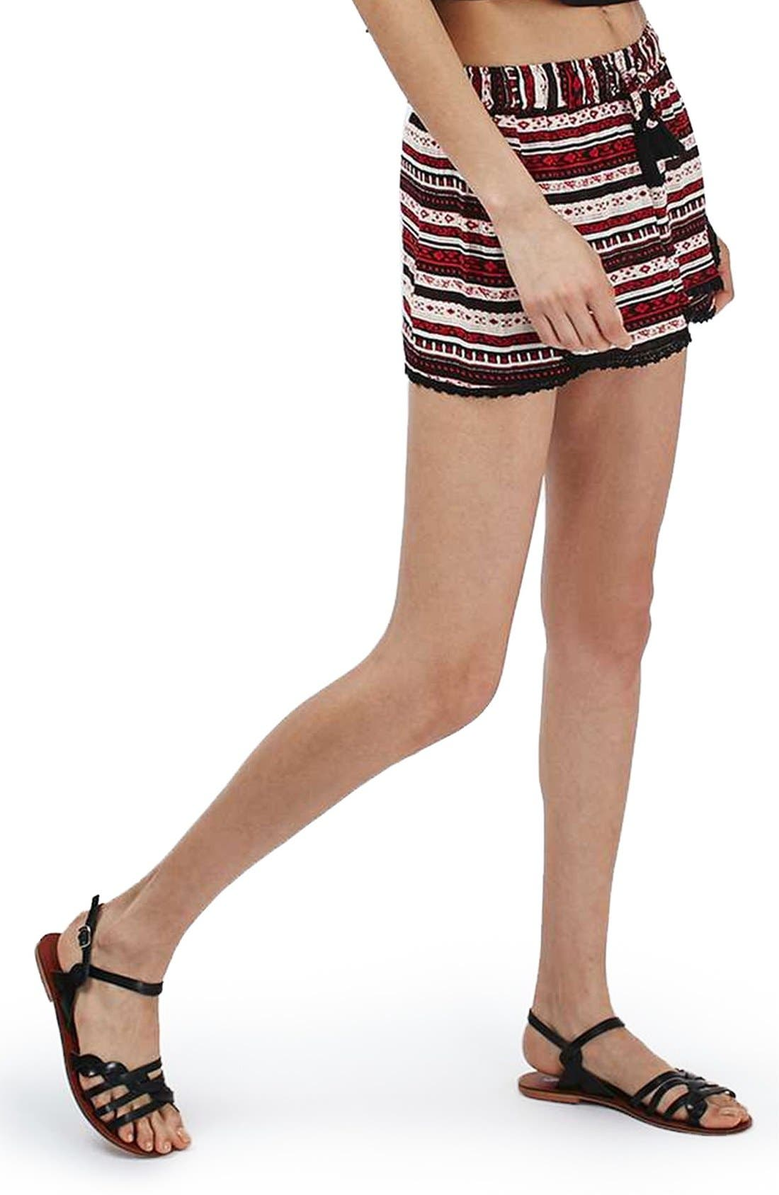 Alternate Image 1 Selected - Topshop Crochet Trim Southwest Stripe Shorts
