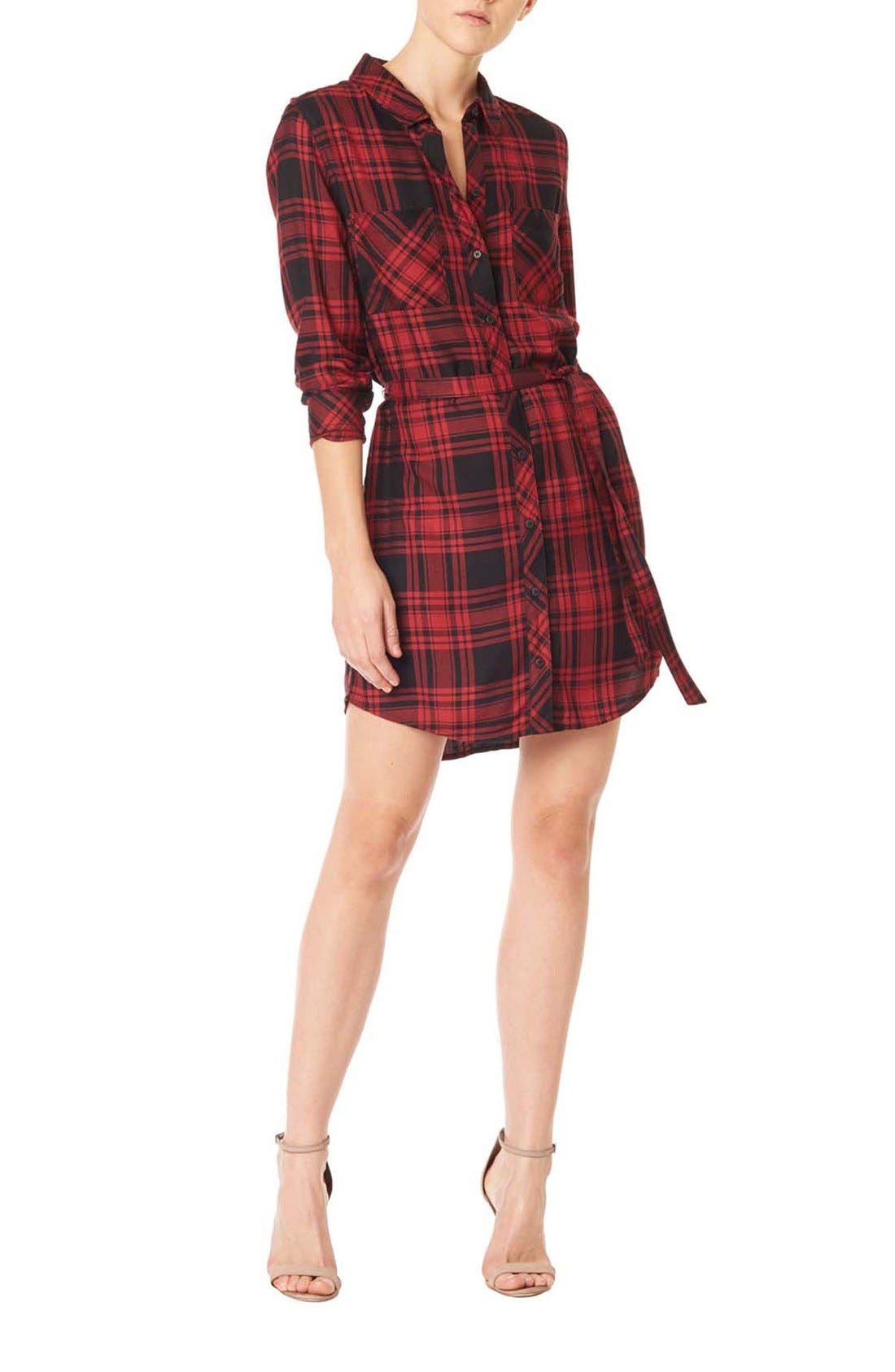 Main Image - Sanctuary 'Jordane' Plaid Belted Shirtdress