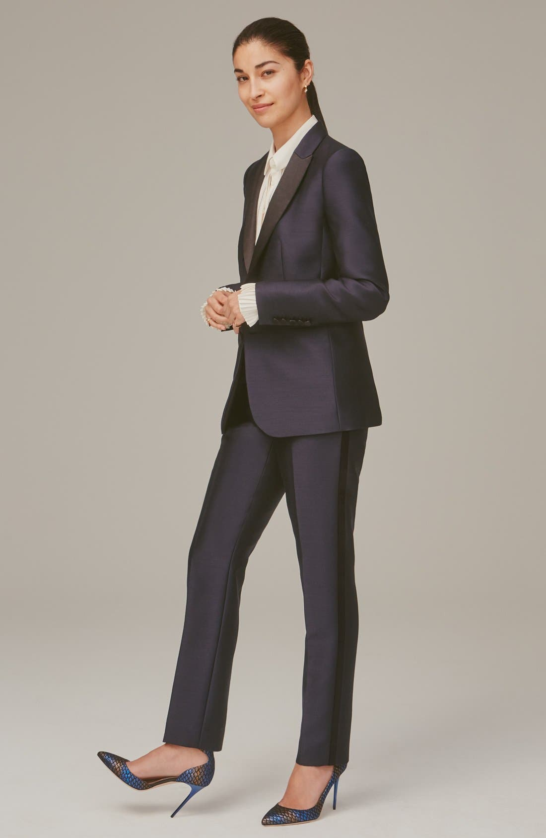 Alternate Image 8  - Nordstrom Signature and Caroline Issa Silk Trim Tuxedo Jacket