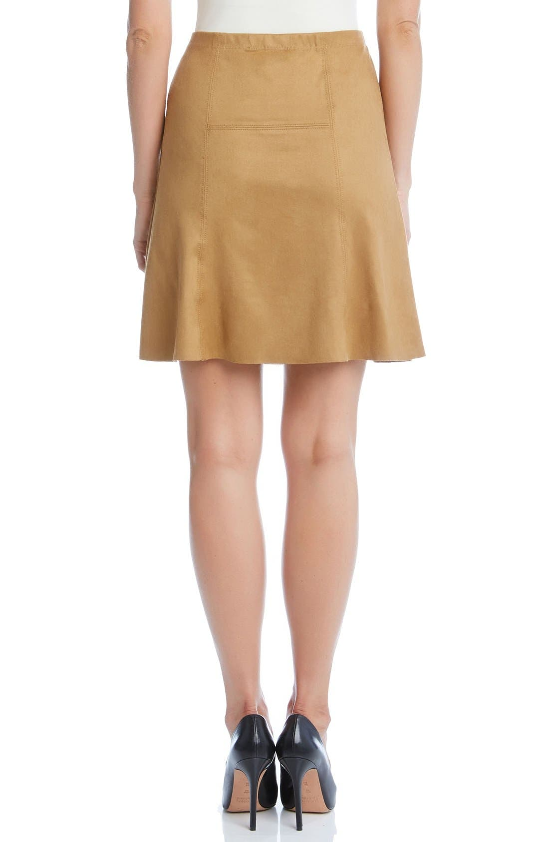 Alternate Image 2  - Karen Kane Flared Faux Suede Knit Skirt