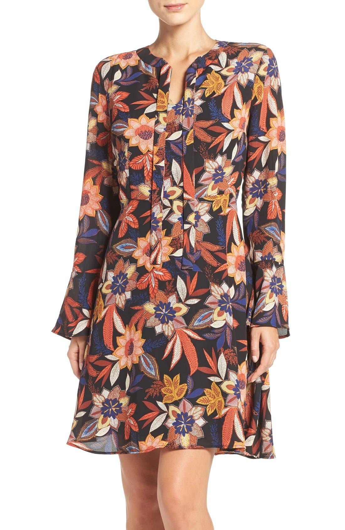 Main Image - ECI Floral Print Tie Neck Shift Dress
