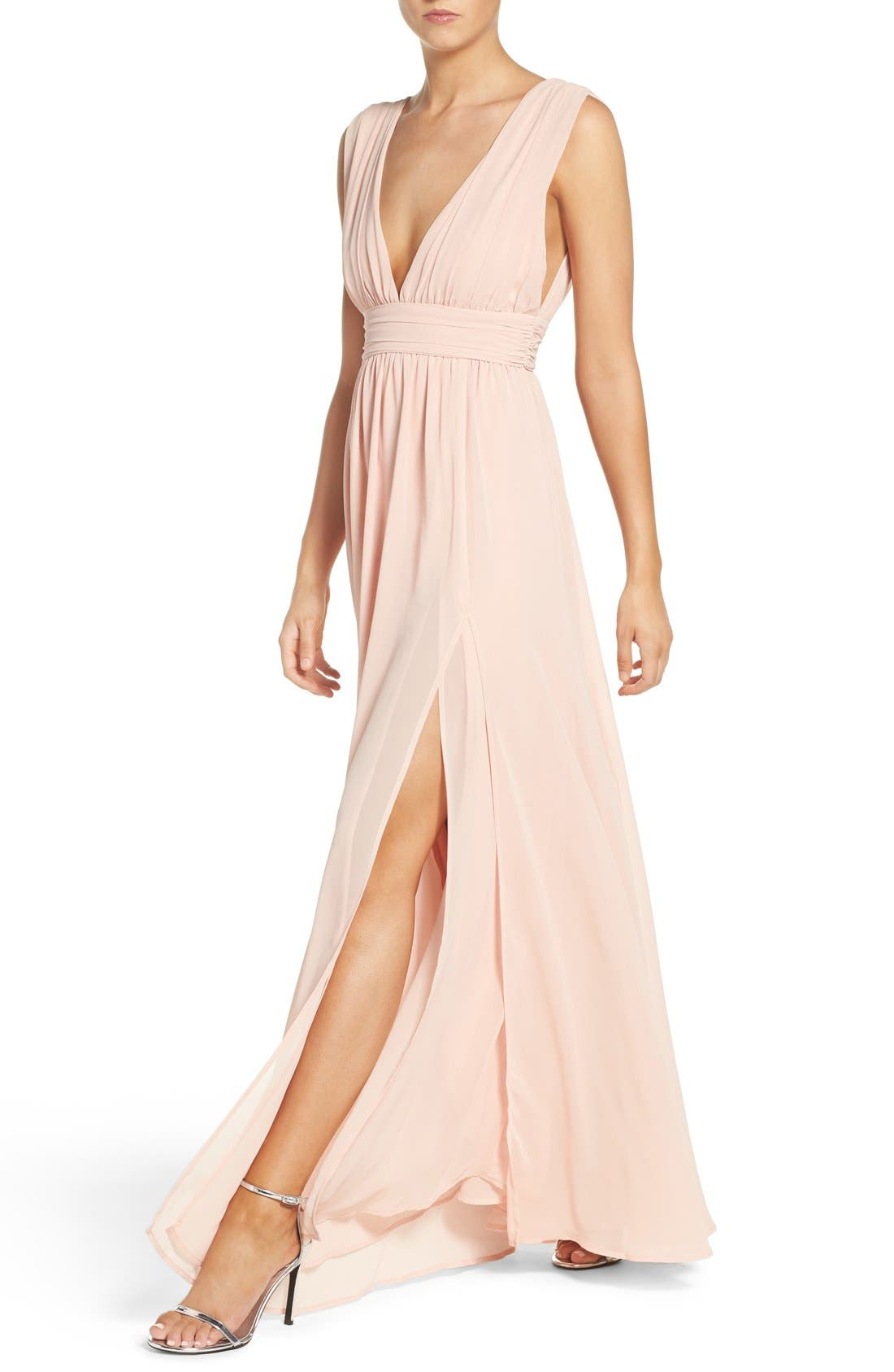 Alternate Image 5  - Lulus Plunging V-Neck Chiffon Gown