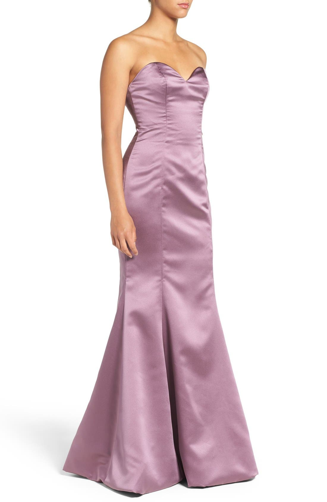 Alternate Image 3  - Hayley Paige Occasions Strapless Satin Trumpet Gown
