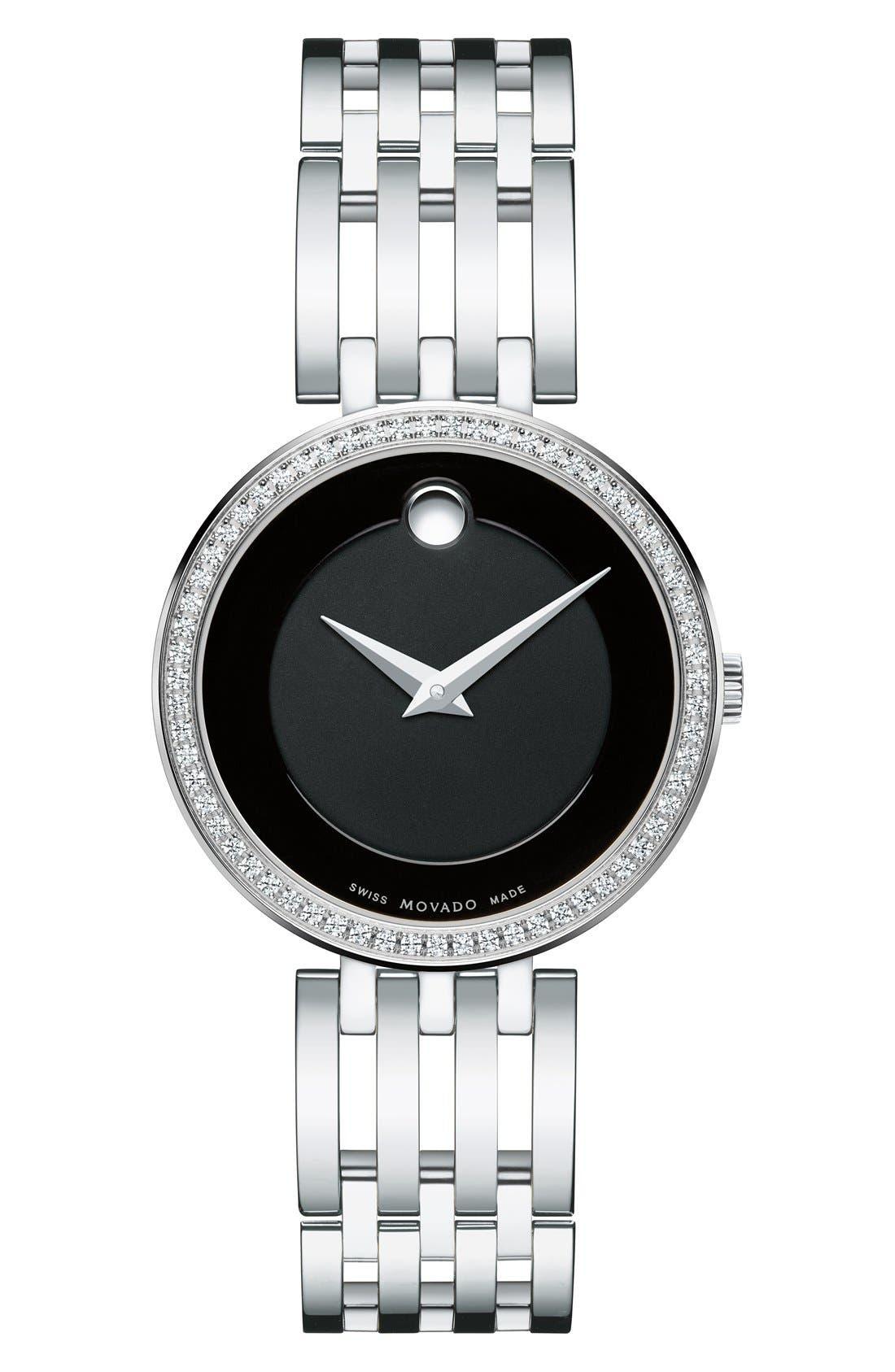 MOVADO 'Esperanza' Diamond Bezel Bracelet Watch, 28mm
