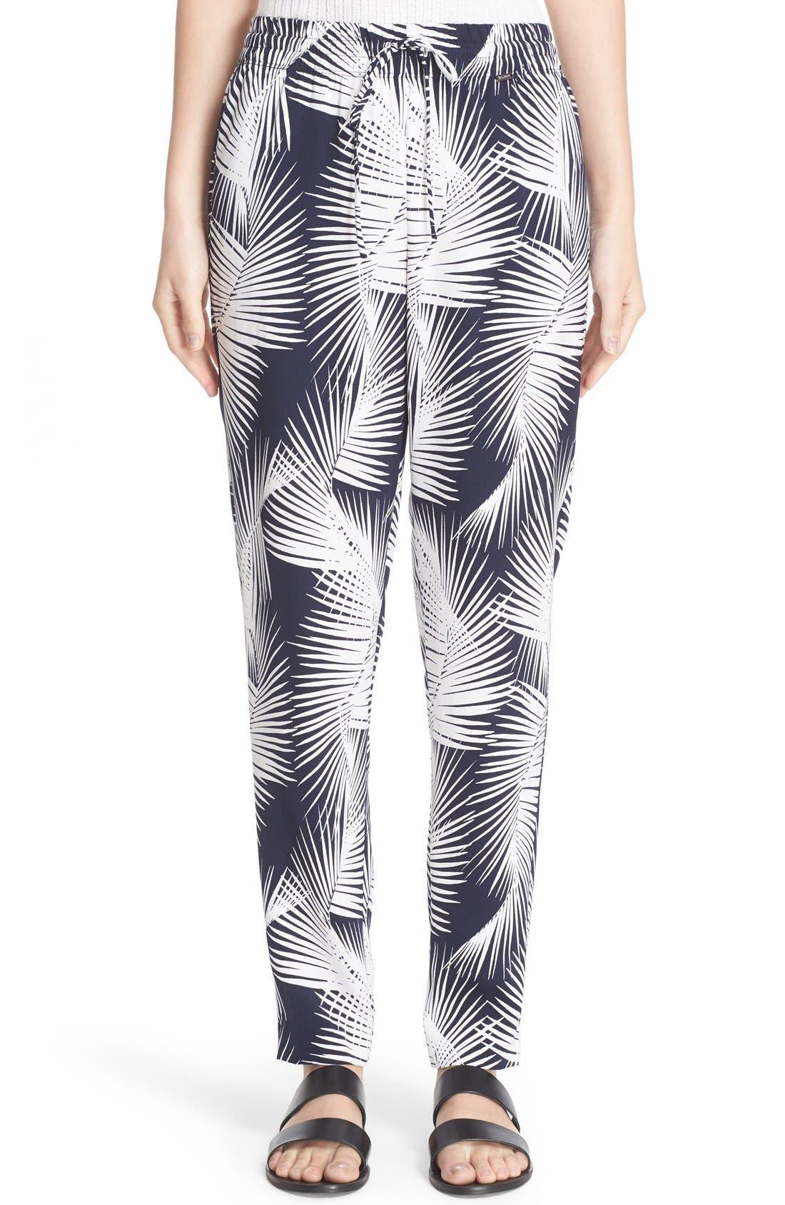 Main Image - St. John Sport Collection Palm Print Stretch Silk Pants