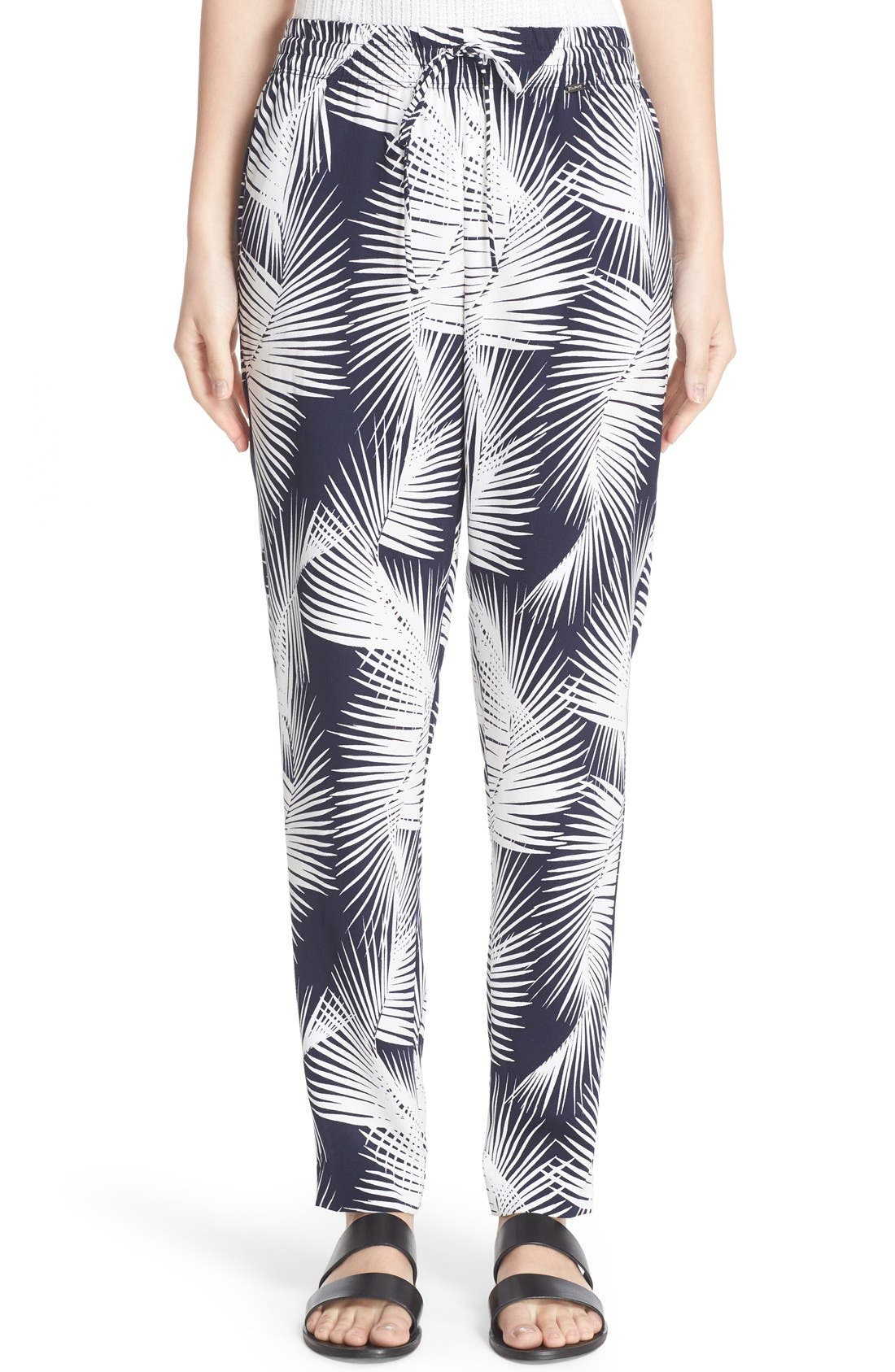 St. John Sport Collection Palm Print Stretch Silk Pants