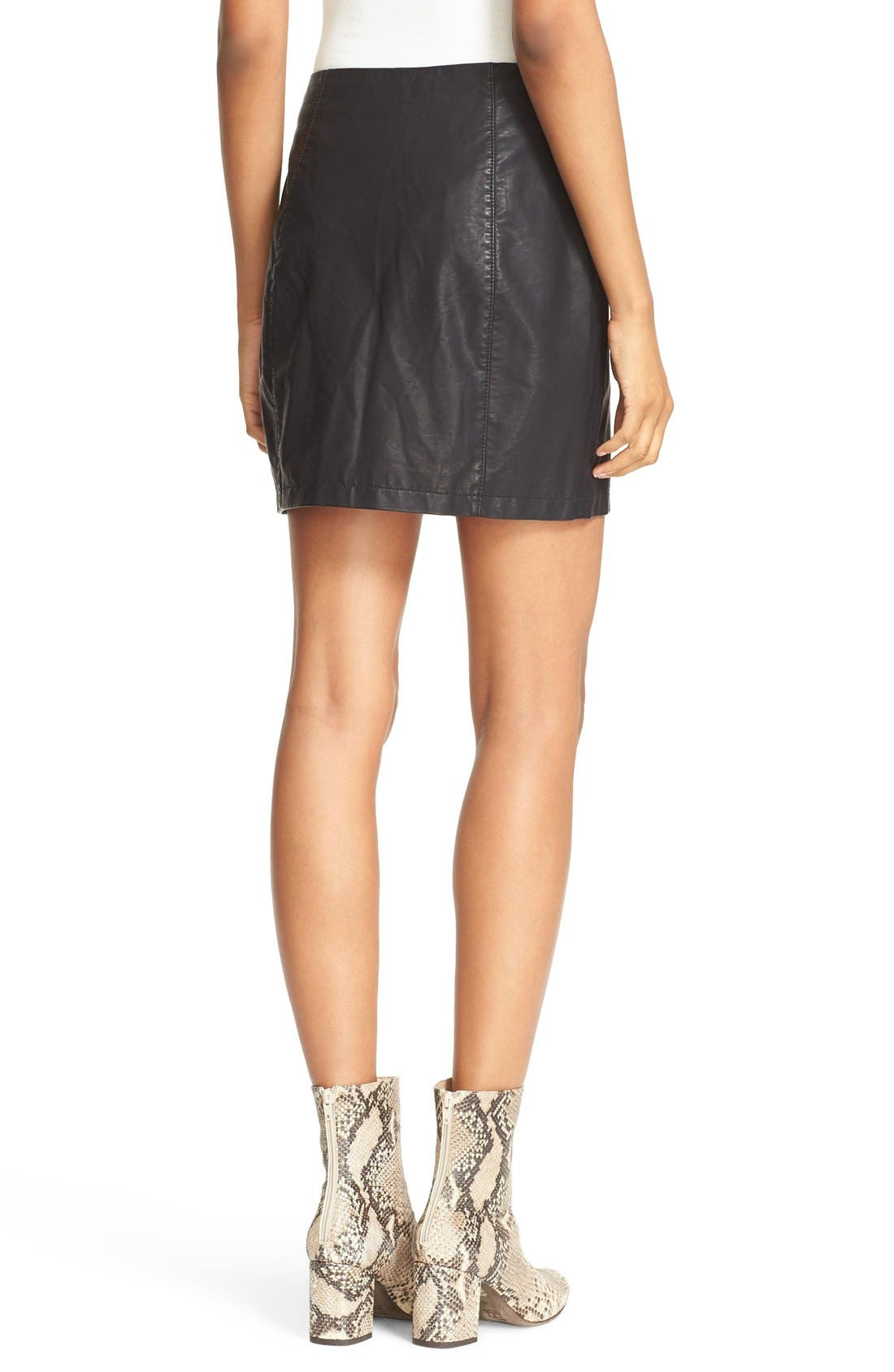 Alternate Image 3  - Free People 'Oh Snap' Faux Leather Miniskirt
